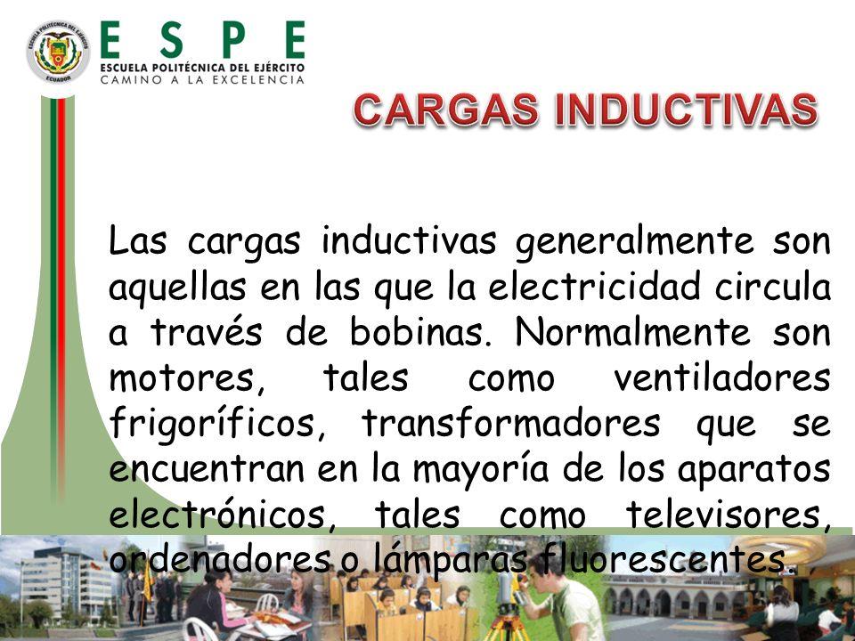 Las cargas inductivas generalmente son aquellas en las que la electricidad circula a través de bobinas. Normalmente son motores, tales como ventilador