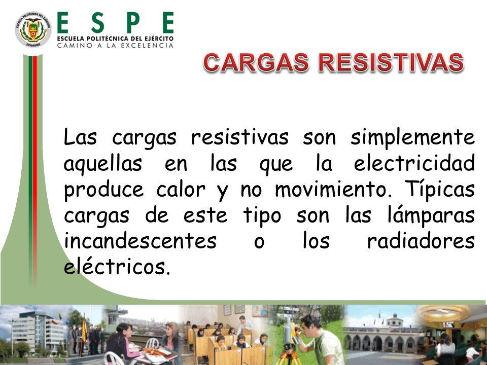 Las cargas resistivas son simplemente aquellas en las que la electricidad produce calor y no movimiento. Típicas cargas de este tipo son las lámparas