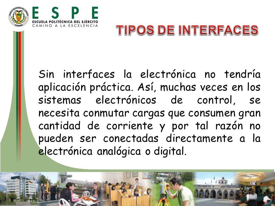 Sin interfaces la electrónica no tendría aplicación práctica. Así, muchas veces en los sistemas electrónicos de control, se necesita conmutar cargas q
