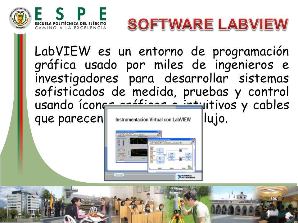LabVIEW es un entorno de programación gráfica usado por miles de ingenieros e investigadores para desarrollar sistemas sofisticados de medida, pruebas