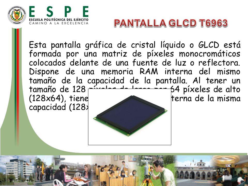 Esta pantalla gráfica de cristal líquido o GLCD está formada por una matriz de píxeles monocromáticos colocados delante de una fuente de luz o reflect