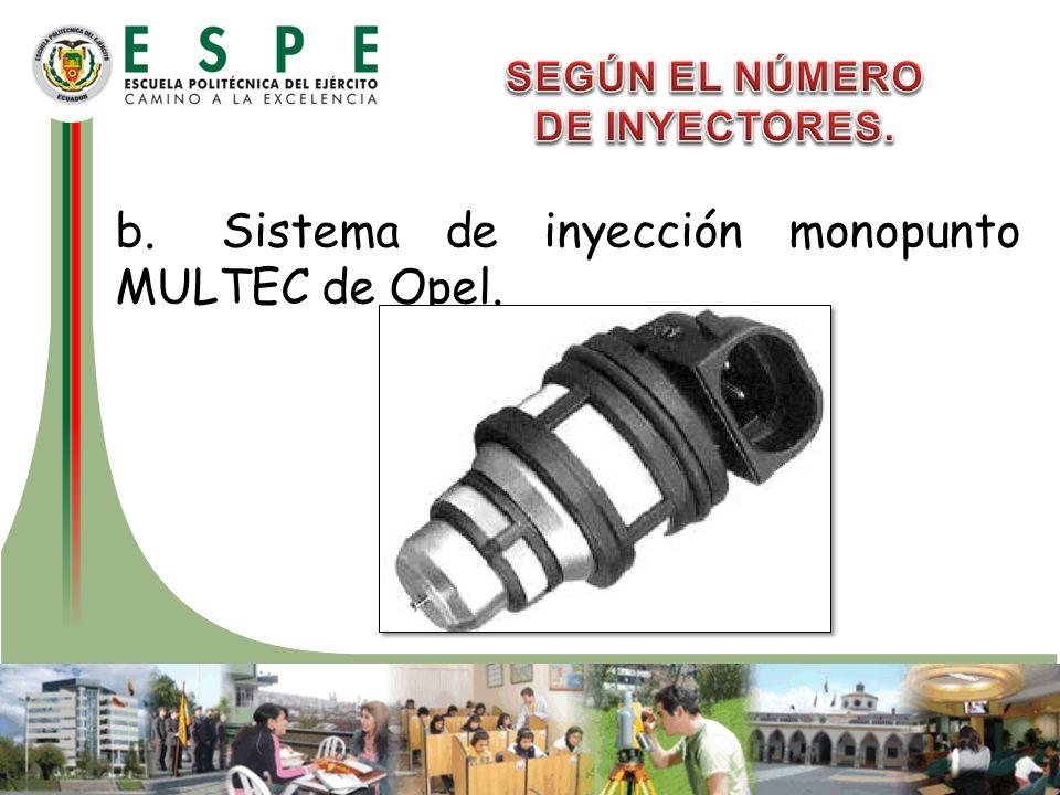 b.Sistema de inyección monopunto MULTEC de Opel.