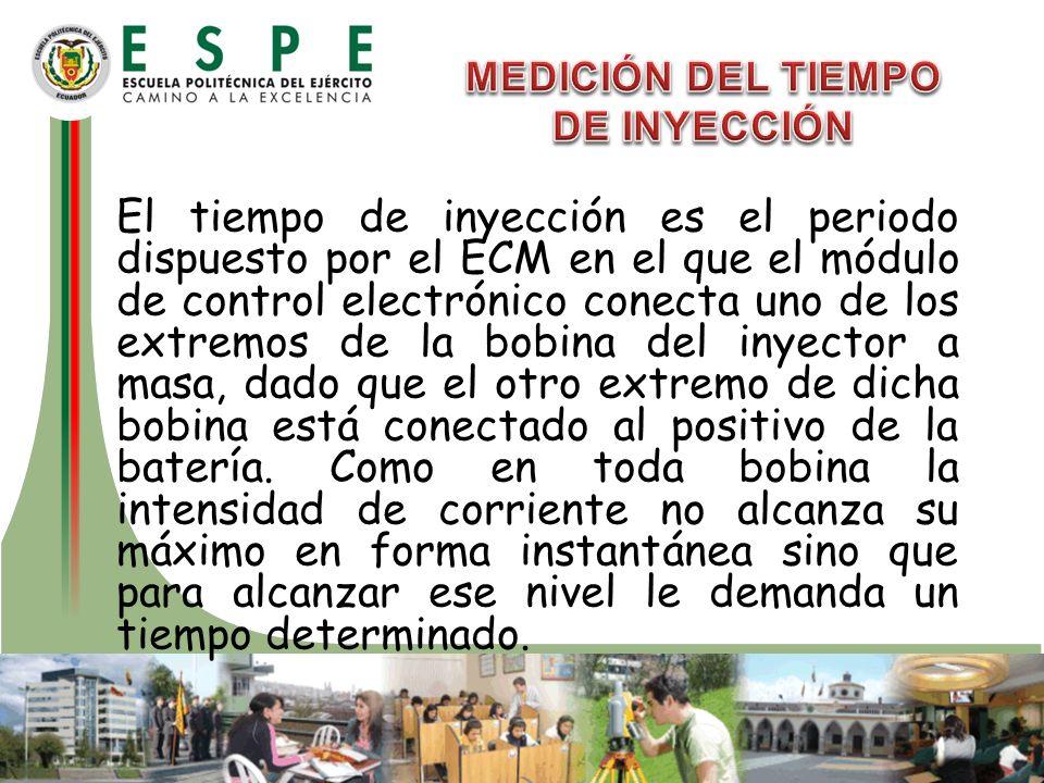 El tiempo de inyección es el periodo dispuesto por el ECM en el que el módulo de control electrónico conecta uno de los extremos de la bobina del inye