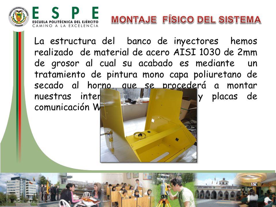 La estructura del banco de inyectores hemos realizado de material de acero AISI 1030 de 2mm de grosor al cual su acabado es mediante un tratamiento de