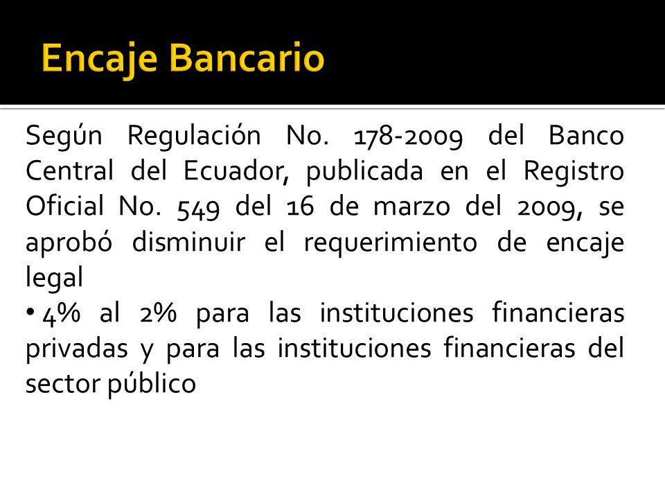 Según Regulación No.178-2009 del Banco Central del Ecuador, publicada en el Registro Oficial No.