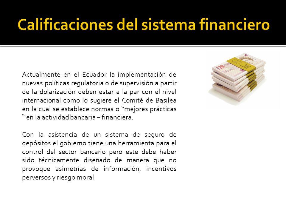 Actualmente en el Ecuador la implementación de nuevas políticas regulatoria o de supervisión a partir de la dolarización deben estar a la par con el nivel internacional como lo sugiere el Comité de Basilea en la cual se establece normas o mejores prácticas en la actividad bancaria – financiera.