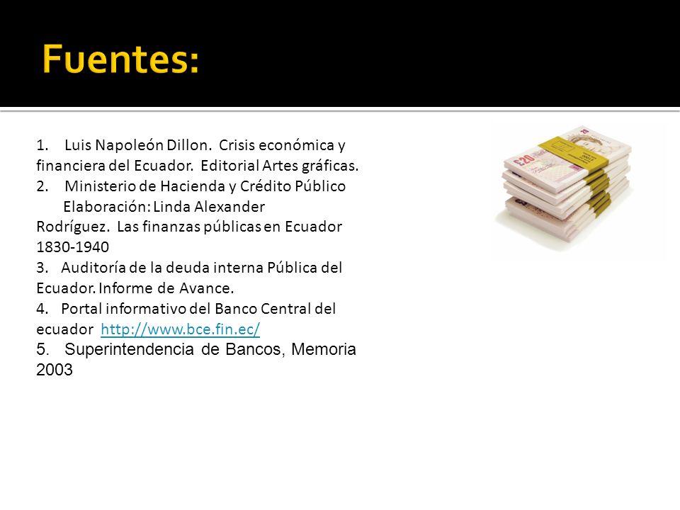 1.Luis Napoleón Dillon. Crisis económica y financiera del Ecuador.