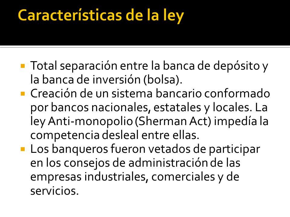 Total separación entre la banca de depósito y la banca de inversión (bolsa).