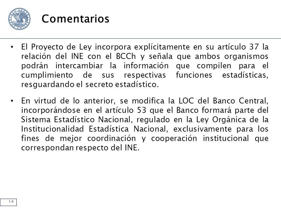 14 Comentarios El Proyecto de Ley incorpora explícitamente en su artículo 37 la relación del INE con el BCCh y señala que ambos organismos podrán intercambiar la información que compilen para el cumplimiento de sus respectivas funciones estadísticas, resguardando el secreto estadístico.