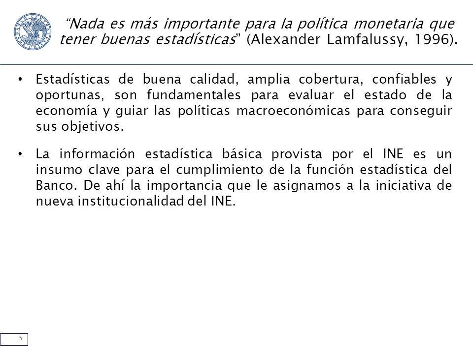 5 Nada es más importante para la política monetaria que tener buenas estadísticas (Alexander Lamfalussy, 1996). Estadísticas de buena calidad, amplia