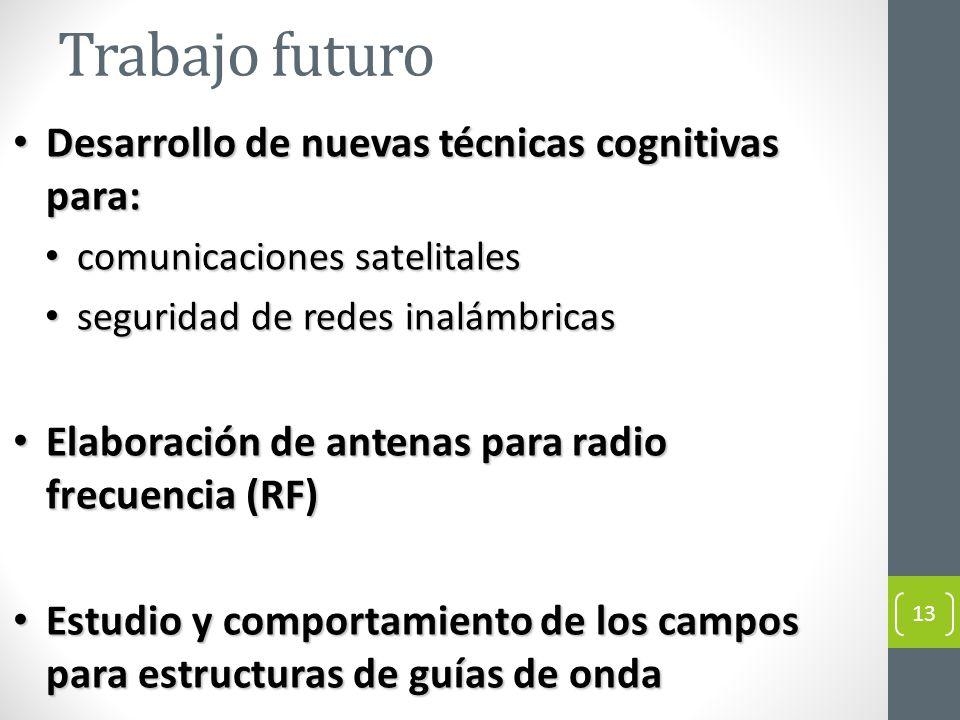 Trabajo futuro Desarrollo de nuevas técnicas cognitivas para: Desarrollo de nuevas técnicas cognitivas para: comunicaciones satelitales comunicaciones