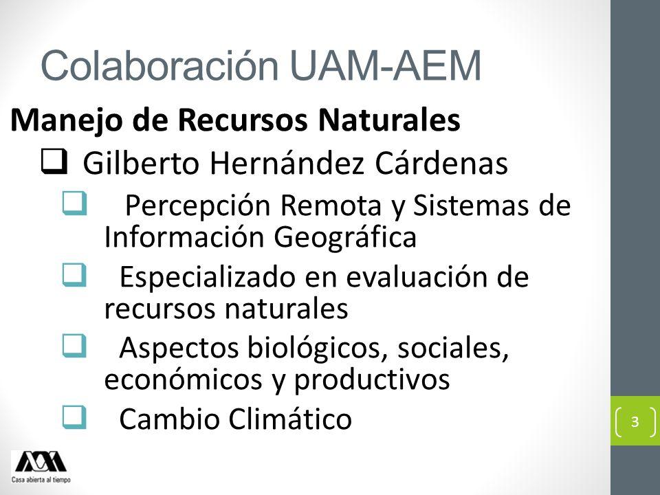 Colaboración UAM-AEM Manejo de Recursos Naturales Gilberto Hernández Cárdenas Percepción Remota y Sistemas de Información Geográfica Especializado en