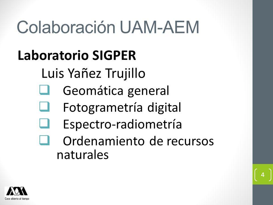 Colaboración UAM-AEM Laboratorio SIGPER Luis Yañez Trujillo Geomática general Fotogrametría digital Espectro-radiometría Ordenamiento de recursos natu