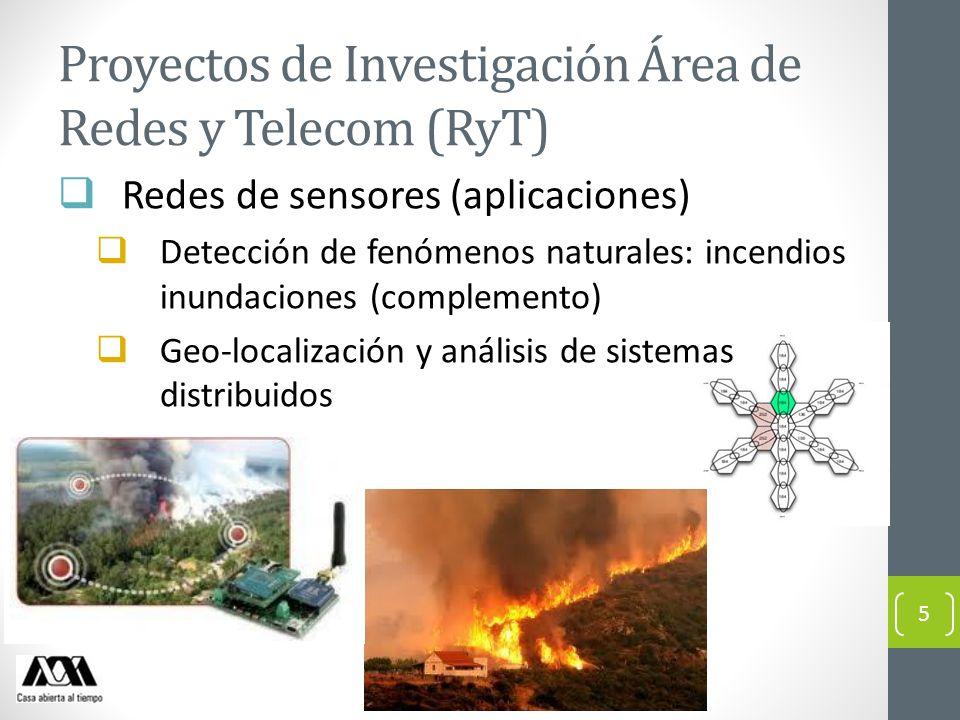 Proyectos de Investigación Área de Redes y Telecom (RyT) Redes de sensores (aplicaciones) Detección de fenómenos naturales: incendios inundaciones (co