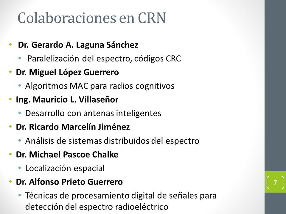 Colaboraciones en CRN Dr. Gerardo A. Laguna Sánchez Paralelización del espectro, códigos CRC Dr. Miguel López Guerrero Algoritmos MAC para radios cogn