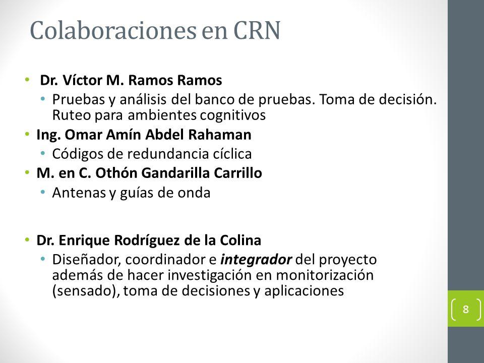 Colaboraciones en CRN Dr. Víctor M. Ramos Ramos Pruebas y análisis del banco de pruebas. Toma de decisión. Ruteo para ambientes cognitivos Ing. Omar A