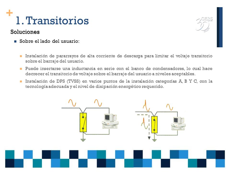 + 1. Transitorios Los transitorios oscilatorios pueden ser de alta (>500 kHz), media (5-500 kHz) y baja frecuencia (< 5 kHz). Oscilatorios Se presenta
