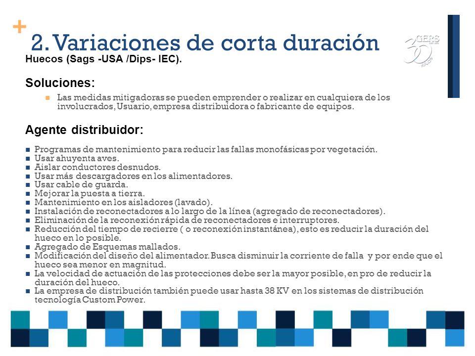 2.Variaciones de corta duración Huecos (sags -usa /dips- iec).