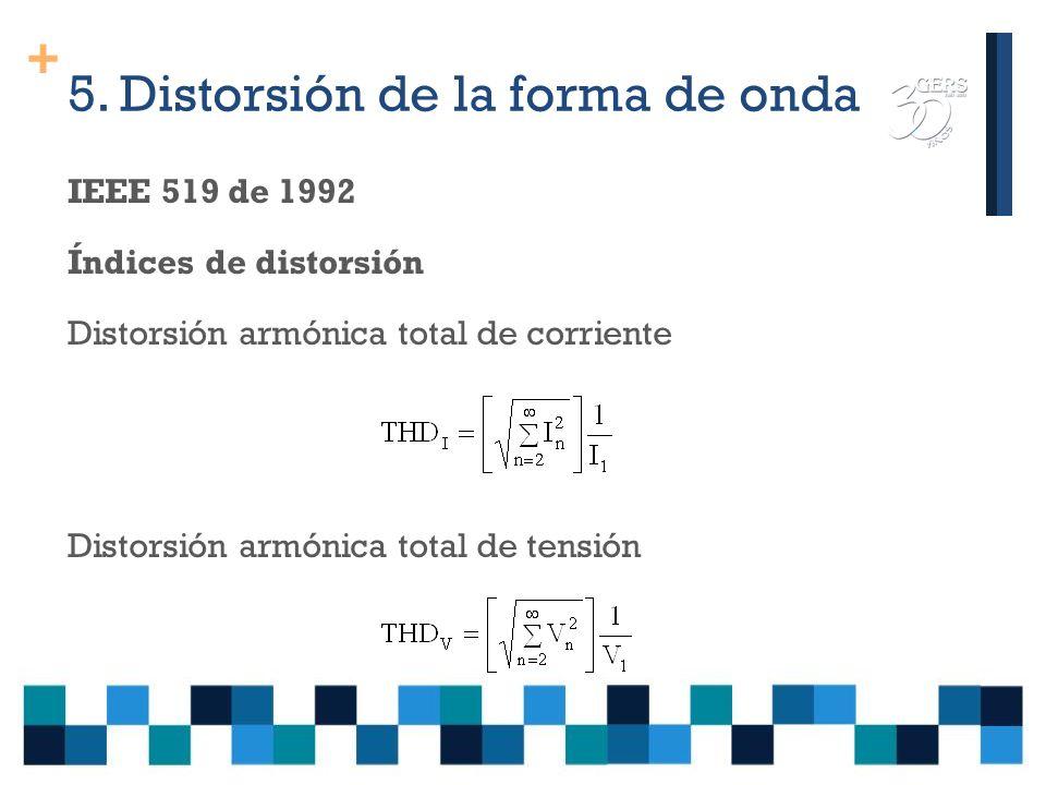 + IEEE 519 de 1992 Establece límites aplicables al usuario y límites para las empresas de energía Los índices se miden en la frontera entre el usuario y la empresa suministradora de energía PCC (Point of common coupling) Distorsión armónica individual de corriente Distorsión armónica individual de tensión Armónicos