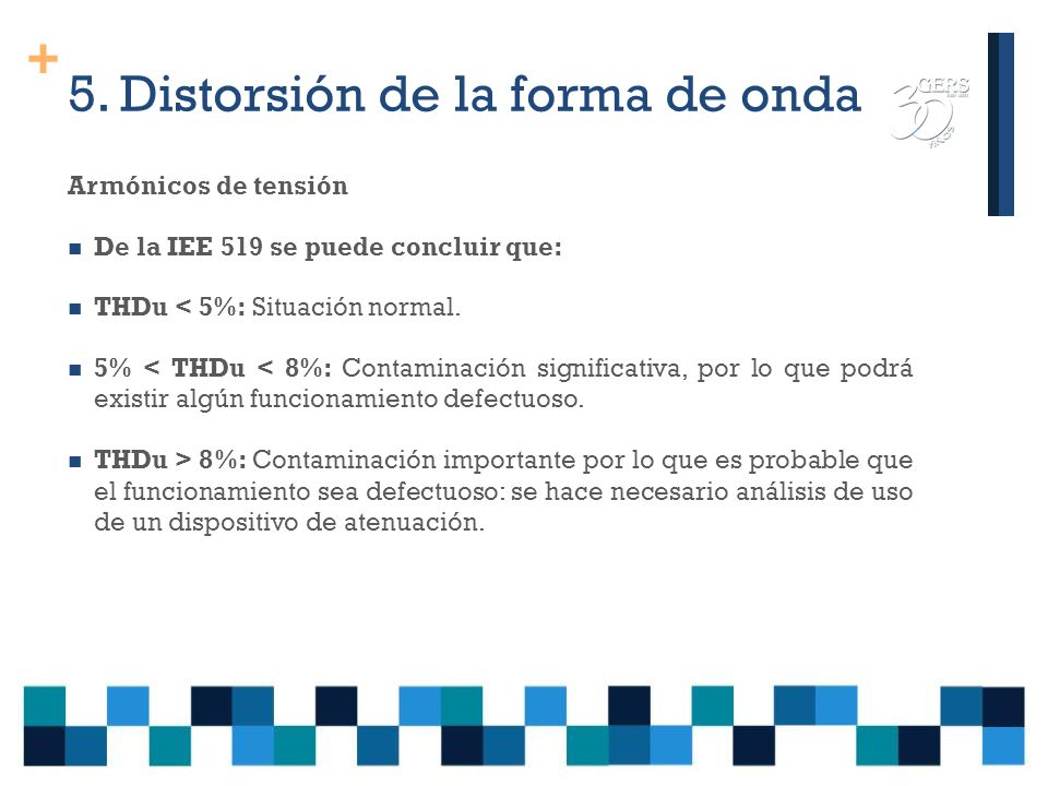 + 5. Distorsión de la forma de onda IEEE 519 de 1992 Límites de distorsión armónica total de corrientes para usuarios y suministradores en el PCC (120