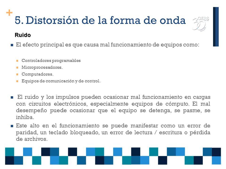 + 5. Distorsión de la forma de onda El ruido eléctrico es una señal eléctrica indeseable, que produce efectos impredecibles en los equipos susceptible