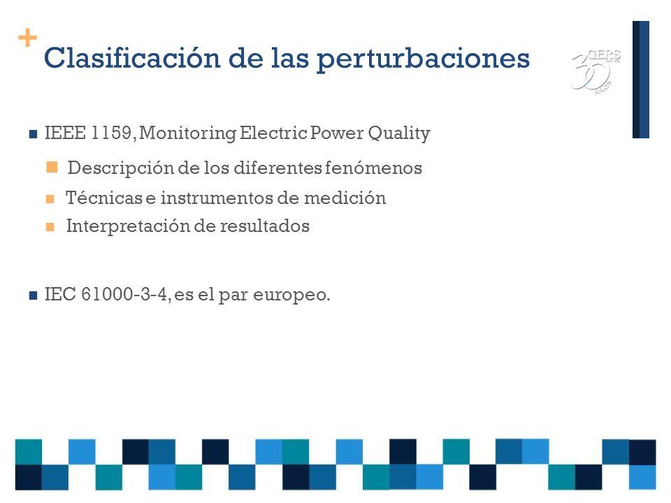 + Clasificación de fenómenos que afectan a la calidad del suministro Múltiples criterios: *duración de la perturbación (transitoria, corta duración, larga duración) * forma de la perturbación (armónicos, flicker, desbalances, etc.) * fuente del problema (convertidores, maniobras, etc) * espectro de frecuencias (audio y radio frecuencia) * perturbaciones conducidas y radiadas.