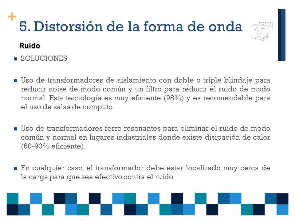 + 5. Distorsión de la forma de onda El efecto principal es que causa mal funcionamiento de equipos como: Controladores programables Microprocesadores.