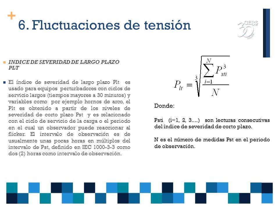+ 6. Fluctuaciones de tensión INDICES PARA LA MEDICION: INDICE DE SEVERIDAD DE CORTO PLAZO PST Este es obtenido a partir de las estadísticas de tiempo