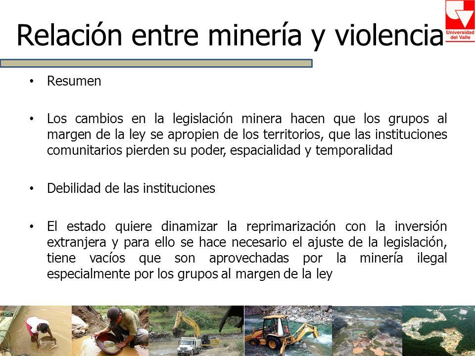 Resumen Los cambios en la legislación minera hacen que los grupos al margen de la ley se apropien de los territorios, que las instituciones comunitari