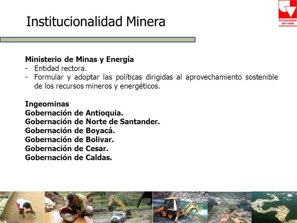 Institucionalidad Minera Ministerio de Minas y Energía -Entidad rectora. -Formular y adoptar las políticas dirigidas al aprovechamiento sostenible de