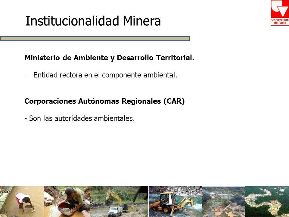 Institucionalidad Minera Ministerio de Ambiente y Desarrollo Territorial. -Entidad rectora en el componente ambiental. Corporaciones Autónomas Regiona