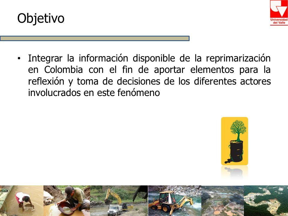Objetivo Integrar la información disponible de la reprimarización en Colombia con el fin de aportar elementos para la reflexión y toma de decisiones d