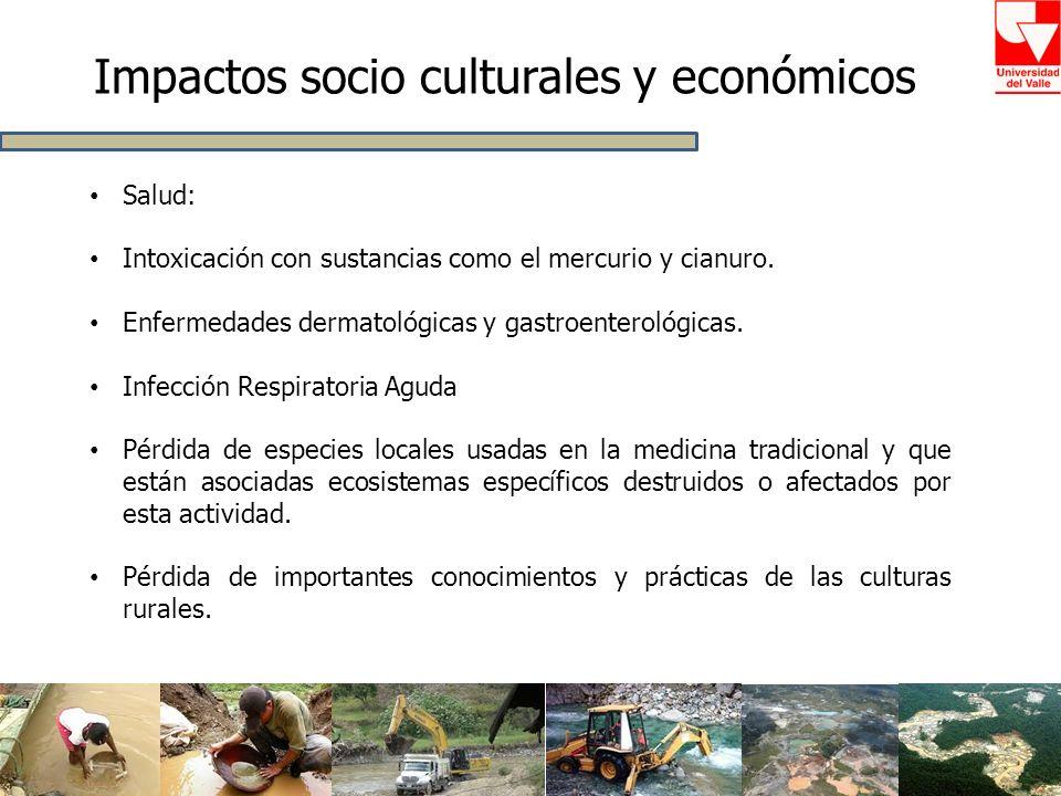 Impactos socio culturales y económicos Salud: Intoxicación con sustancias como el mercurio y cianuro. Enfermedades dermatológicas y gastroenterológica