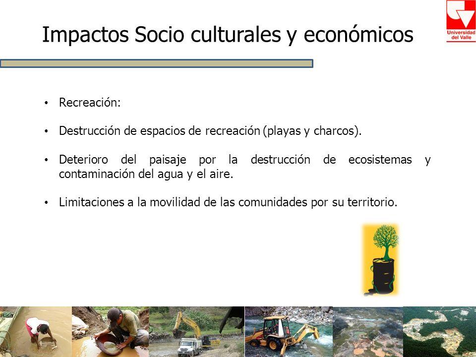 Impactos Socio culturales y económicos Recreación: Destrucción de espacios de recreación (playas y charcos). Deterioro del paisaje por la destrucción