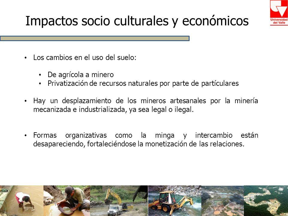 Impactos socio culturales y económicos Los cambios en el uso del suelo: De agrícola a minero Privatización de recursos naturales por parte de partícul