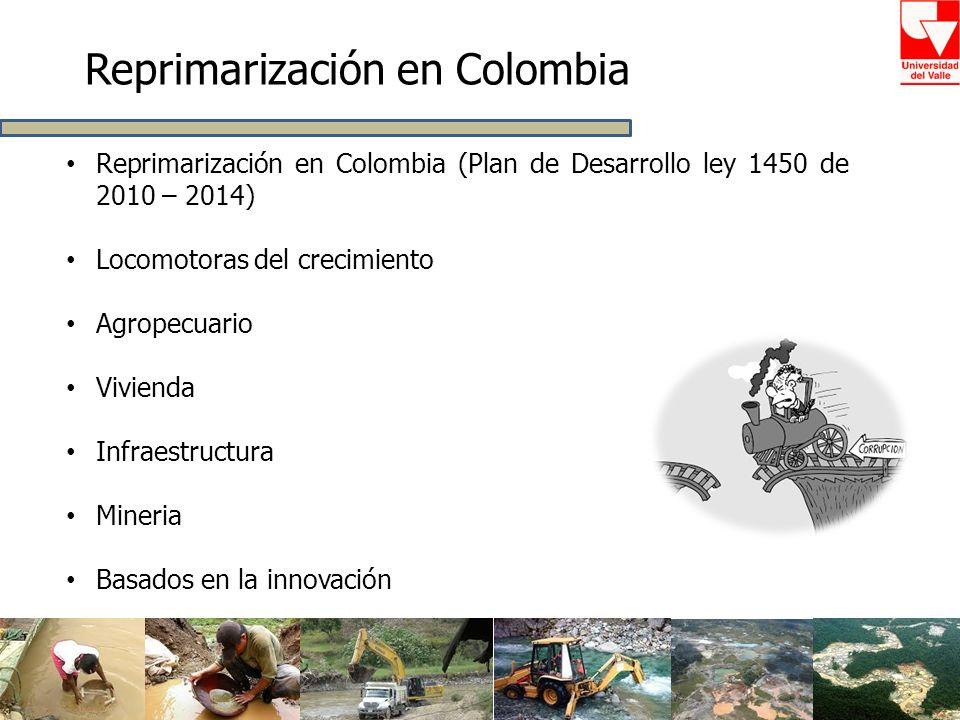 Reprimarización en Colombia Reprimarización en Colombia (Plan de Desarrollo ley 1450 de 2010 – 2014) Locomotoras del crecimiento Agropecuario Vivienda