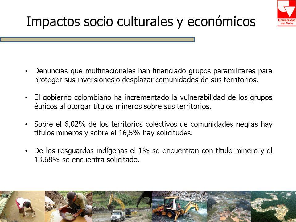 Impactos socio culturales y económicos Denuncias que multinacionales han financiado grupos paramilitares para proteger sus inversiones o desplazar com