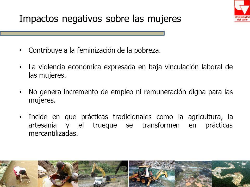 Contribuye a la feminización de la pobreza. La violencia económica expresada en baja vinculación laboral de las mujeres. No genera incremento de emple