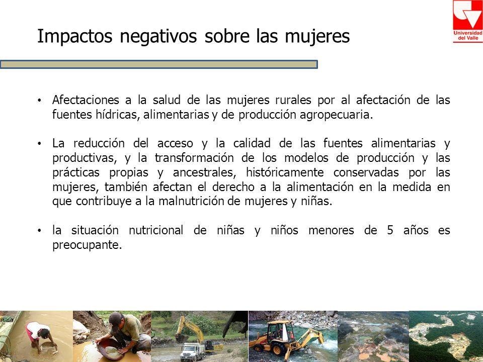 Afectaciones a la salud de las mujeres rurales por al afectación de las fuentes hídricas, alimentarias y de producción agropecuaria. La reducción del