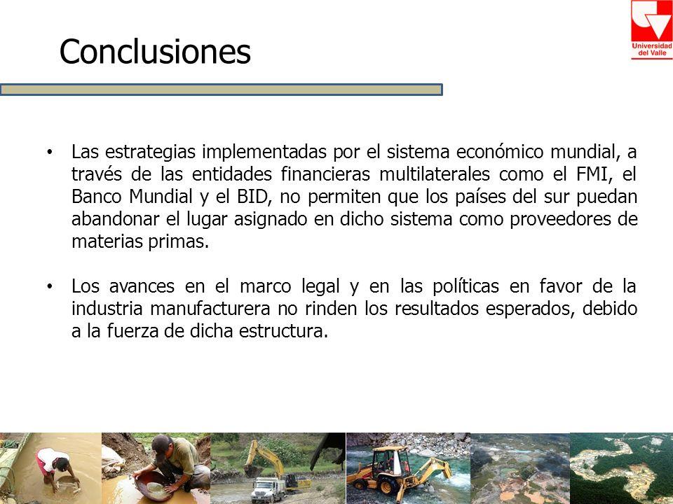 Conclusiones Las estrategias implementadas por el sistema económico mundial, a través de las entidades financieras multilaterales como el FMI, el Banc