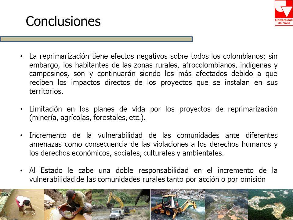 Conclusiones La reprimarización tiene efectos negativos sobre todos los colombianos; sin embargo, los habitantes de las zonas rurales, afrocolombianos