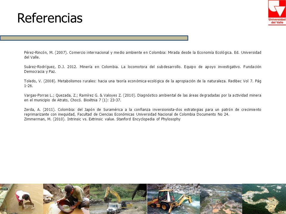 Referencias Pérez-Rincón, M. (2007). Comercio internacional y medio ambiente en Colombia: Mirada desde la Economía Ecológica. Ed. Universidad del Vall