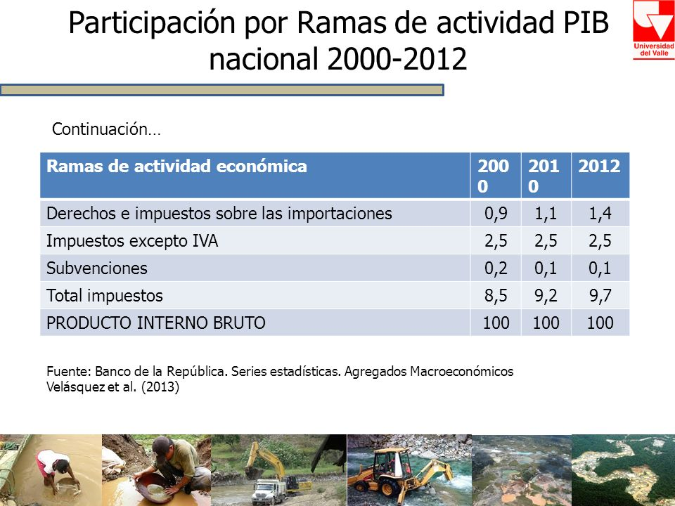Ramas de actividad económica200 0 201 0 2012 Derechos e impuestos sobre las importaciones0,91,11,4 Impuestos excepto IVA2,5 Subvenciones0,20,1 Total i