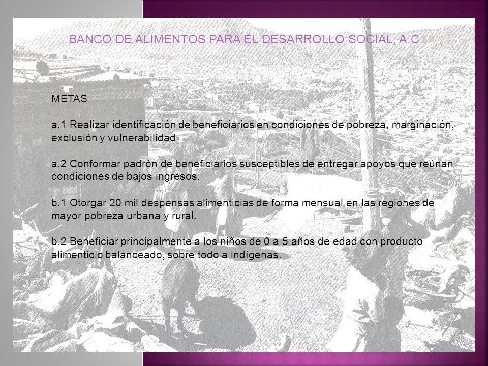 METAS a.1 Realizar identificación de beneficiarios en condiciones de pobreza, marginación, exclusión y vulnerabilidad a.2 Conformar padrón de benefici