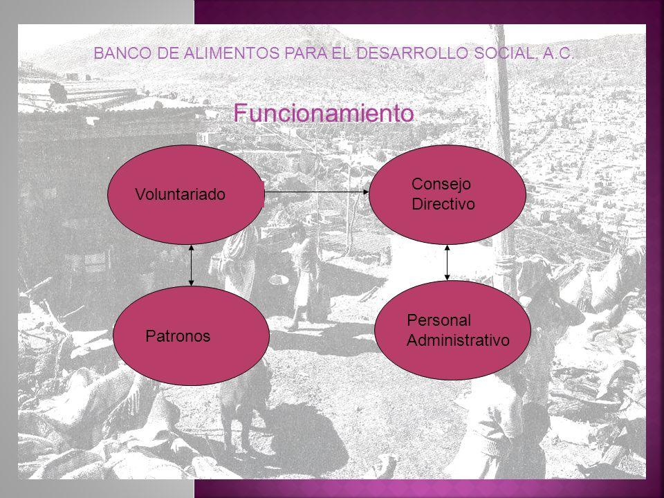Consejo Directivo Patronos Personal Administrativo Voluntariado Funcionamiento BANCO DE ALIMENTOS PARA EL DESARROLLO SOCIAL, A.C.