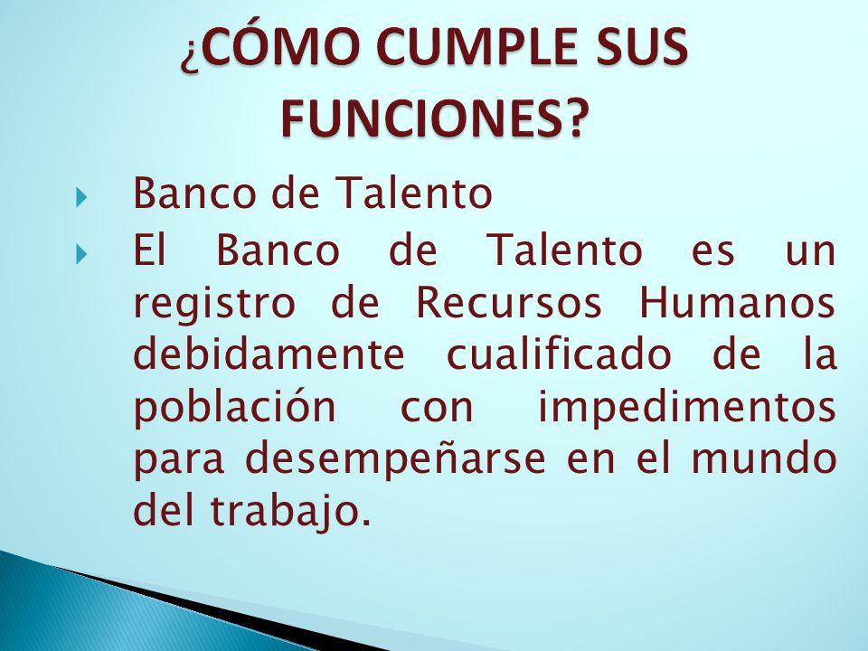 Banco de Talento El Banco de Talento es un registro de Recursos Humanos debidamente cualificado de la población con impedimentos para desempeñarse en