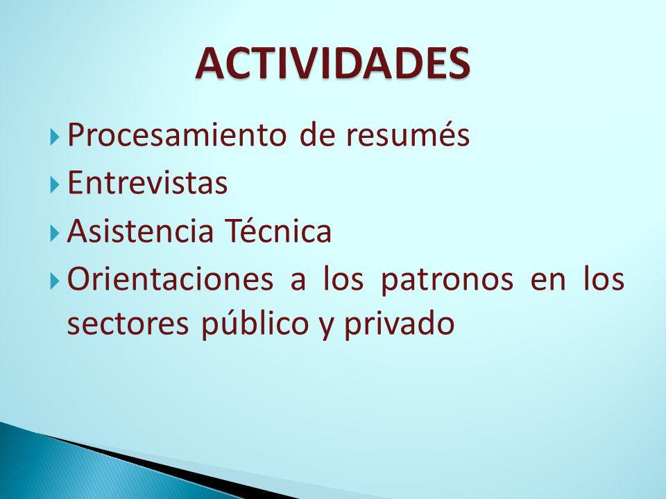 Procesamiento de resumés Entrevistas Asistencia Técnica Orientaciones a los patronos en los sectores público y privado