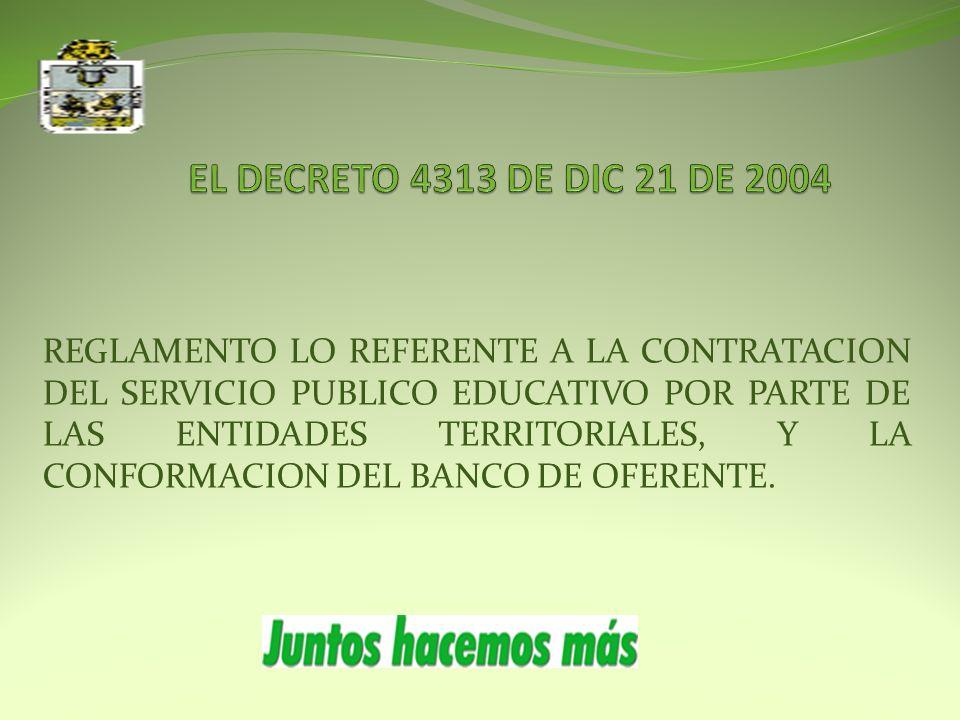 REGLAMENTO LO REFERENTE A LA CONTRATACION DEL SERVICIO PUBLICO EDUCATIVO POR PARTE DE LAS ENTIDADES TERRITORIALES, Y LA CONFORMACION DEL BANCO DE OFERENTE.