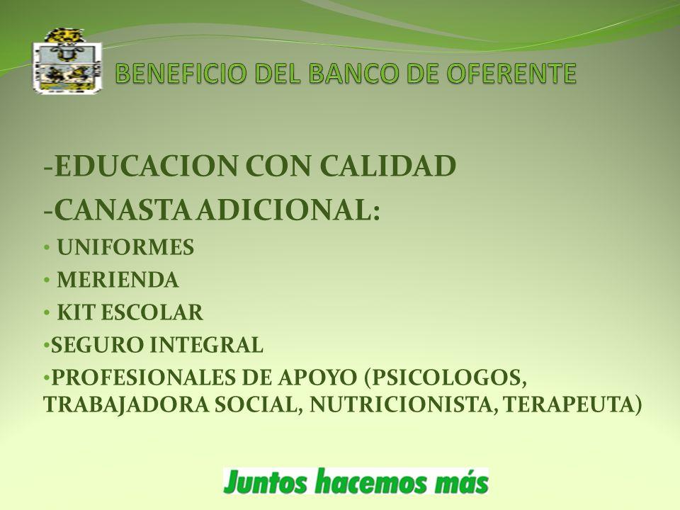 -EDUCACION CON CALIDAD -CANASTA ADICIONAL: UNIFORMES MERIENDA KIT ESCOLAR SEGURO INTEGRAL PROFESIONALES DE APOYO (PSICOLOGOS, TRABAJADORA SOCIAL, NUTRICIONISTA, TERAPEUTA)