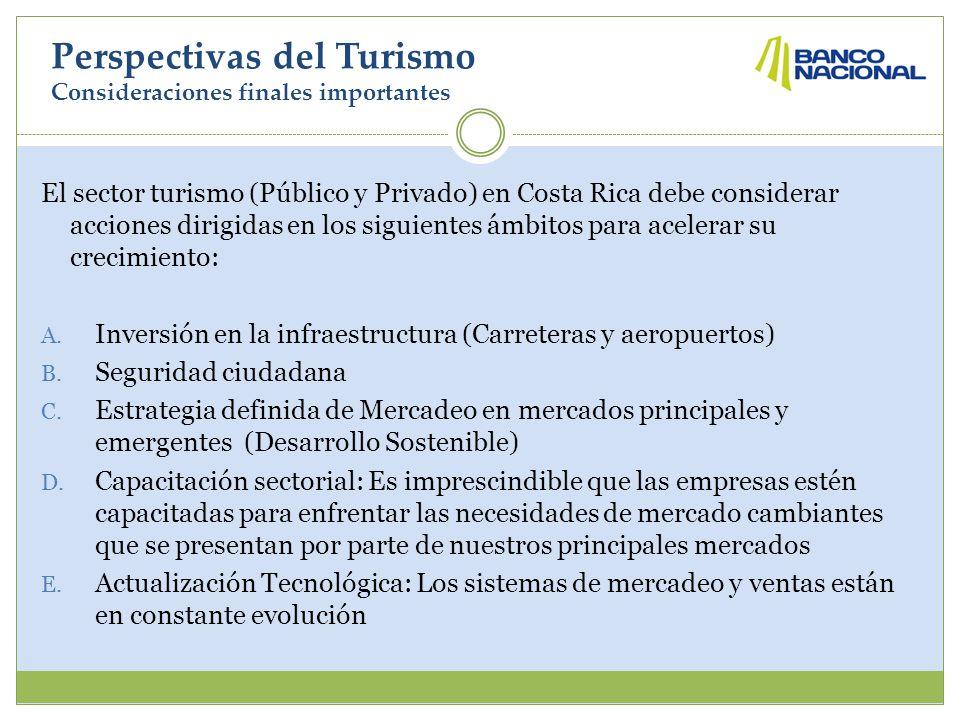 Perspectivas del Turismo Consideraciones finales importantes El sector turismo (Público y Privado) en Costa Rica debe considerar acciones dirigidas en los siguientes ámbitos para acelerar su crecimiento: A.